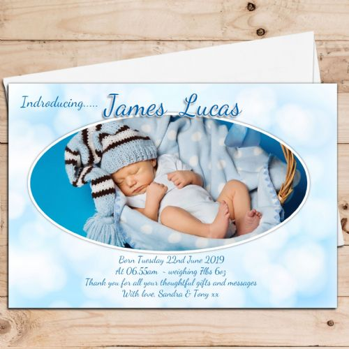 10 Personalised Baby Boys Birth Announcement Thank You Photo Cards N47